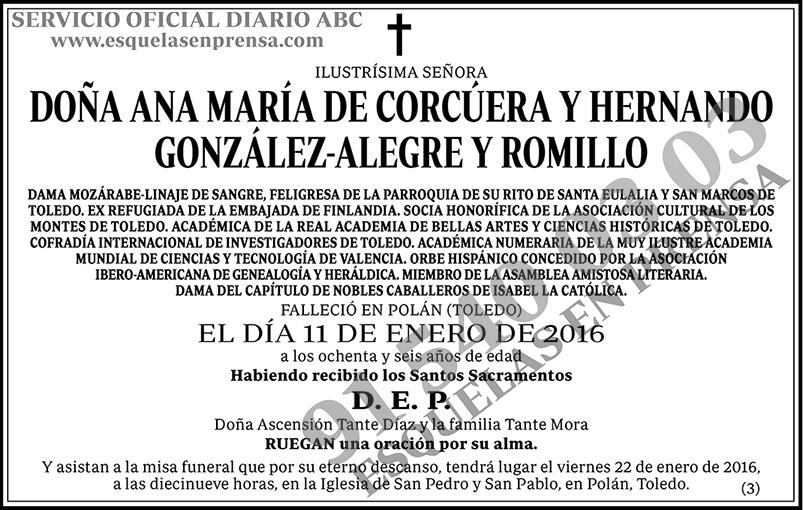 Ana María de Corcúera González-Alegre y Romillo